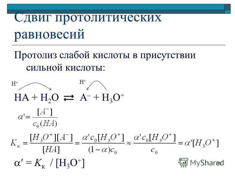 Сдвиг протолитических равновесий Протолиз слабой кислоты в присутствии сильной кислоты: HA + H 2 O A – + H 3 O + = K к / [H 3 O + ] H+H+ H+H+ 58