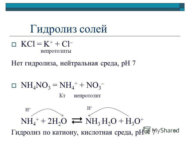 Гидролиз солей KCl = K + + Cl – непротолиты Нет гидролиза, нейтральная среда, рН 7 NH 4 NO 3 = NH 4 + + NO 3 – Кт непротолит NH 4 + + 2H 2 O NH 3. H 2 O + H 3 O + Гидролиз по катиону, кислотная среда, pH < 7 H+H+ H+H+ 64