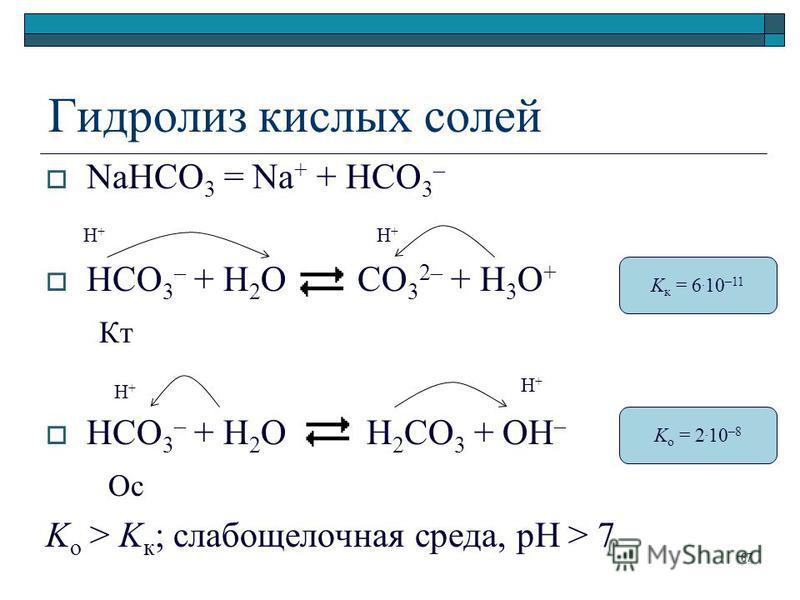 Гидролиз кислых солей NaHCO 3 = Na + + HCO 3 – HCO 3 – + H 2 O CO 3 2– + H 3 O + Кт HCO 3 – + H 2 O H 2 CO 3 + OH – Ос K o > K к ; слабощелочная среда, pH > 7 K к = 6. 10 –11 K o = 2. 10 –8 H+H+ H+H+ H+H+ H+H+ 67