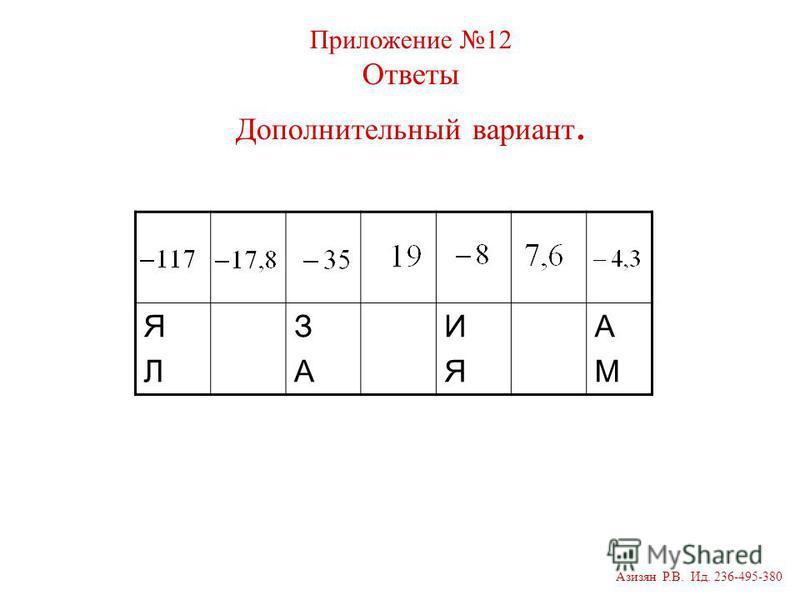 ЯЛЯЛ ЗАЗА ИЯИЯ АМАМ Приложение 12 Ответы Дополнительный вариант. Азизян Р.В. Ид. 236-495-380