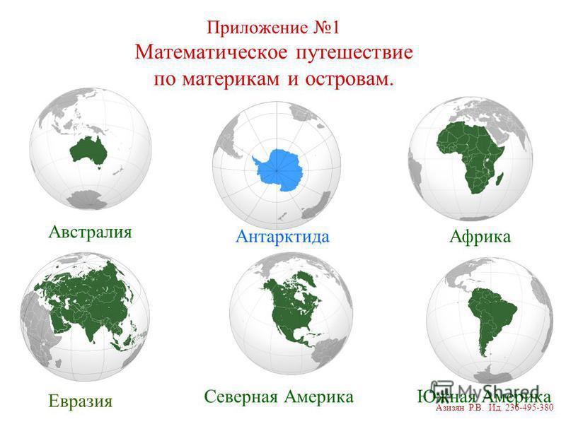 Приложение 1 Математическое путешествие по материкам и островам. Антарктида Евразия Северная Америка Африка Южная Америка Австралия Азизян Р.В. Ид. 236-495-380