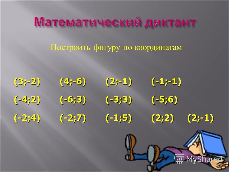 Построить фигуру по координатам (3;-2)(4;-6)(2;-1)(-1;-1) (-4;2)(-6;3)(-3;3)(-5;6) (-2;4)(-2;7)(-1;5)(2;2) (2;-1)