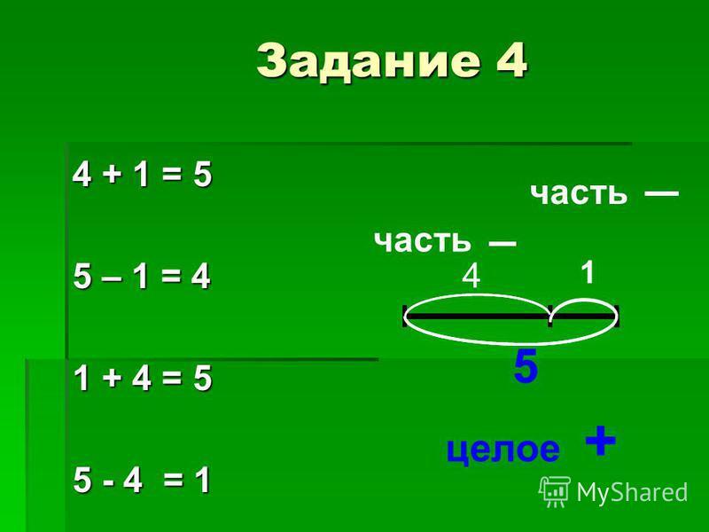 4 + 1 = 5 5 – 1 = 4 1 + 4 = 5 5 - 4 = 1 5 4 1 5 часть целое + Задание 4