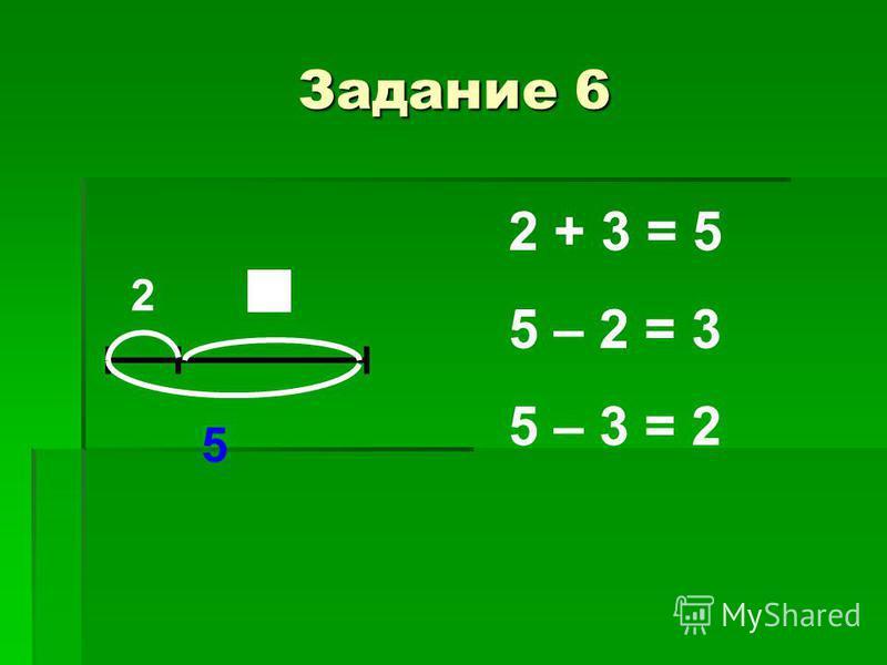 Задание 6 2 5 2 + 3 = 5 5 – 2 = 3 5 – 3 = 2