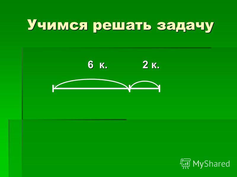 Учимся решать задачу 6 к. 2 к. 6 к. 2 к.