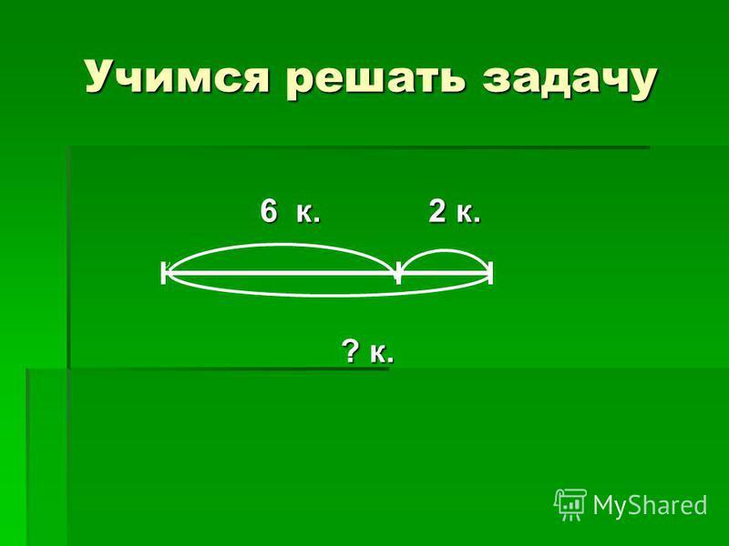 Учимся решать задачу 6 к. 2 к. 6 к. 2 к. ? к. ? к.