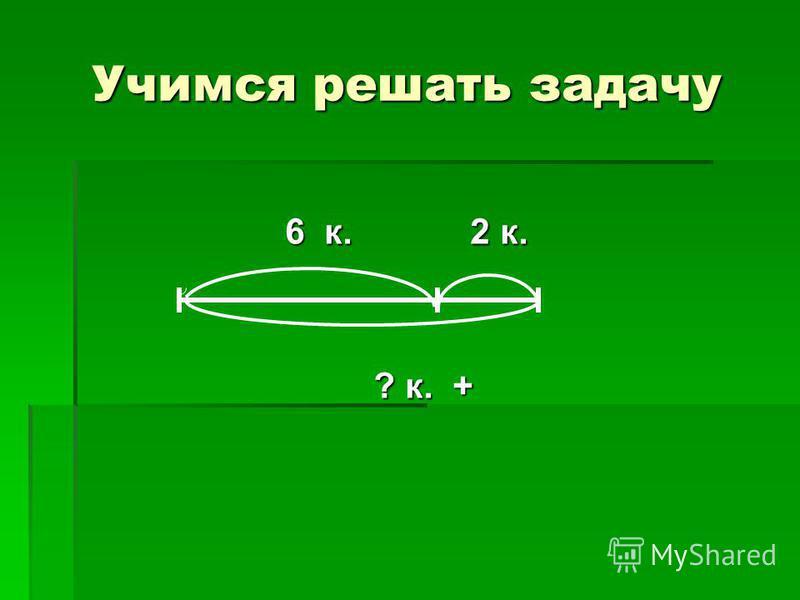 Учимся решать задачу 6 к. 2 к. 6 к. 2 к. ? к. + ? к. +