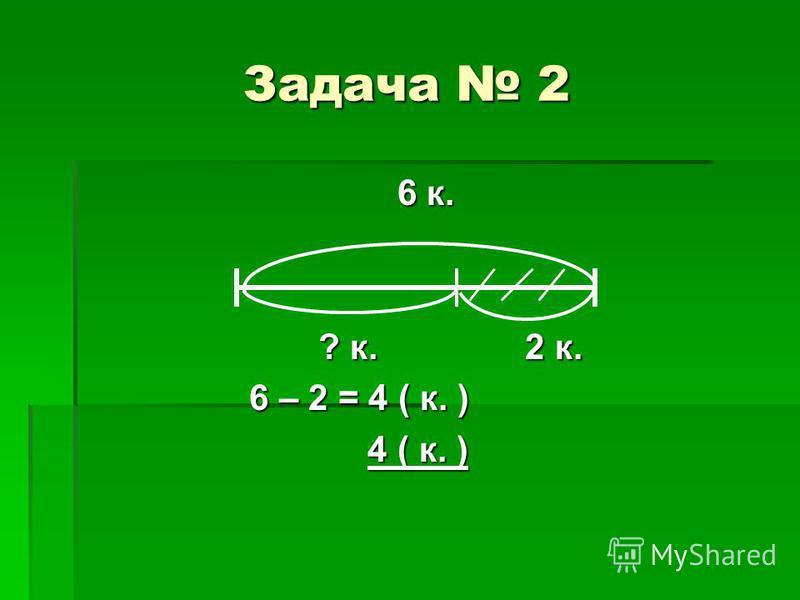 Задача 2 6 к. 6 к. ? к. 2 к. ? к. 2 к. 6 – 2 = 4 ( к. ) 6 – 2 = 4 ( к. ) 4 ( к. ) 4 ( к. )