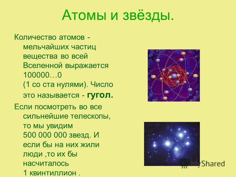 Атомы и звёзды. Количество атомов - мельчайших частиц вещества во всей Вселенной выражается 100000…0 (1 со ста нулями). Число это называется - угол. Если посмотреть во все сильнейшие телескопы, то мы увидим 500 000 000 звезд. И если бы на них жили лю