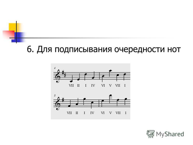 6. Для подписывания очередности нот