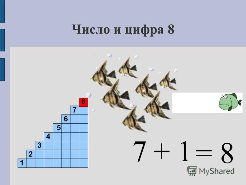 Число и цифра 8 7 1 2 3 4 5 6 7 8 + 1 = 8