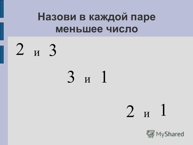 Назови в каждой паре меньшее число и 3 2 3 и 2 и 1 1