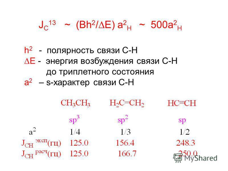 J C 13 ~ (Bh 2 / E) a 2 H ~ 500a 2 H h 2 - полярность связи С-Н E - энергия возбуждения связи С-Н до триплетного состояния а 2 – s-характер связи С-Н