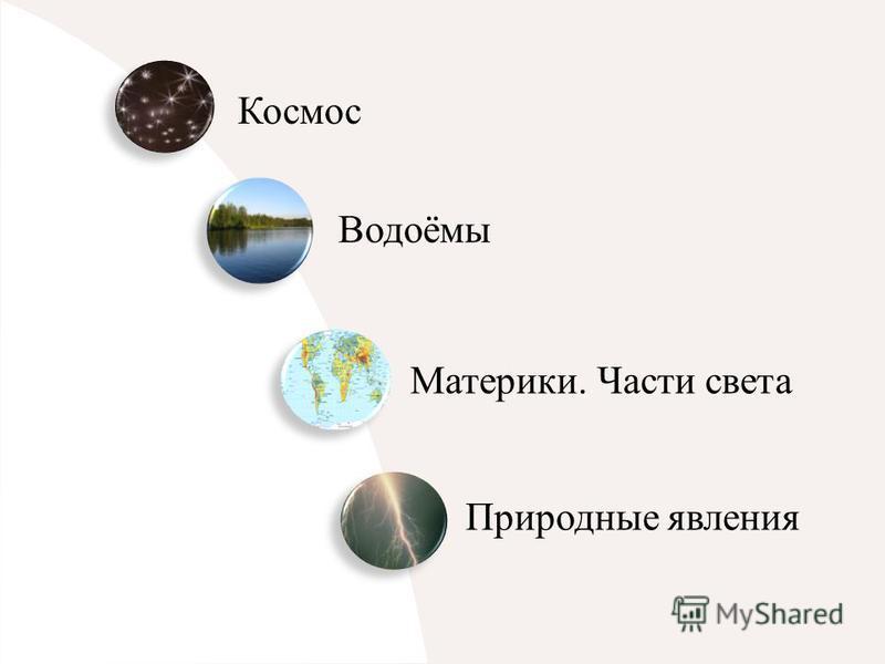 Космос Водоёмы Материки. Части света Природные явления
