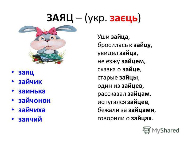 ЗАЯЦ – (укр. заєць) заяц зайчик заинька зайчонок зайчиха заячий Уши зайца, бросилась к зайцу, увидел зайца, не езжу зайцем, сказка о зайце, старые зайцы, один из зайцев, рассказал зайцам, испугался зайцев, бежали за зайцами, говорили о зайцах.