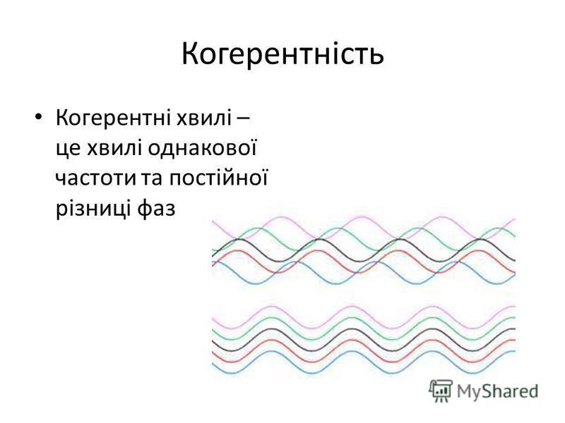 Когерентність Когерентні хвилі – це хвилі однакової частоти та постійної різниці фаз