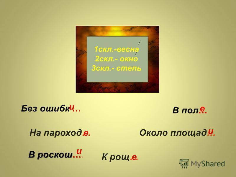 Склонение имён существительных 1 склонение 3 склонение 2 склонение Ж.р. + М.р. -а-я 1 склонение Ж.р. 3 склонение М.р. + Ср.р. -о-е 2 склонение лиса дерево кот лошадьь дядя рожь