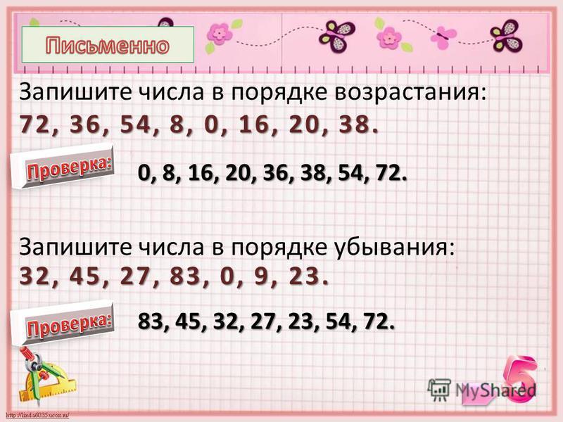 72, 36, 54, 8, 0, 16, 20, 38. Запишите числа в порядке возрастания: 72, 36, 54, 8, 0, 16, 20, 38. 0, 8, 16, 20, 36, 38, 54, 72. 32, 45, 27, 83, 0, 9, 23. Запишите числа в порядке убывания: 32, 45, 27, 83, 0, 9, 23. 83, 45, 32, 27, 23, 54, 72.