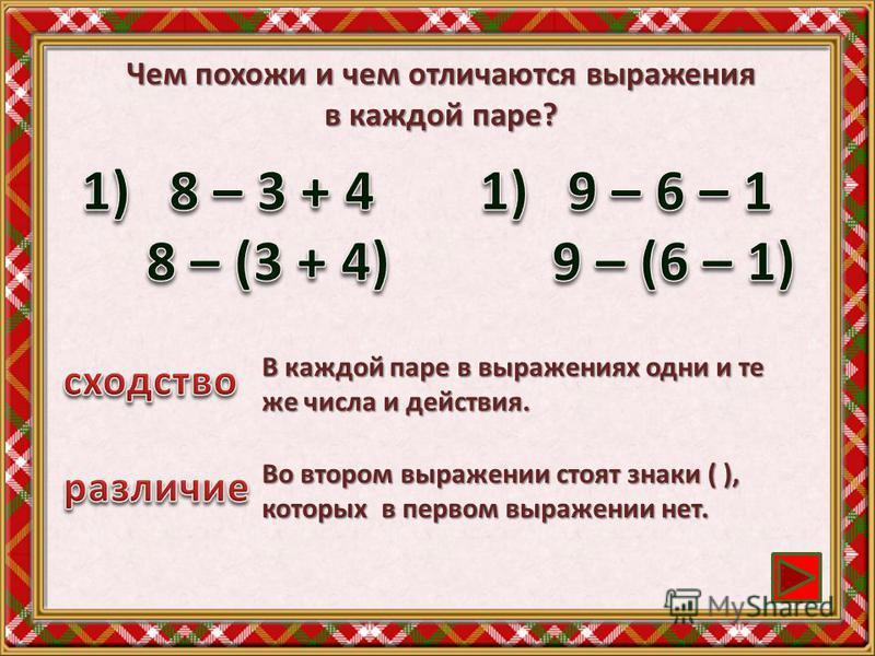 Чем похожи и чем отличаются выражения в каждой паре? В каждой паре в выражениях одни и те же числа и действия. Во втором выражении стоят знаки ( ), которых в первом выражении нет.