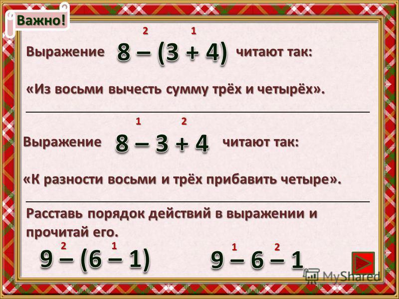 Важно! Выражение читают так: «Из восьми вычесть сумму трёх и четырёх». 2 1 Выражение читают так: «К разности восьми и трёх прибавить четыре». 1 2 2 1 _____________________________________________________________________ Расставь порядок действий в вы