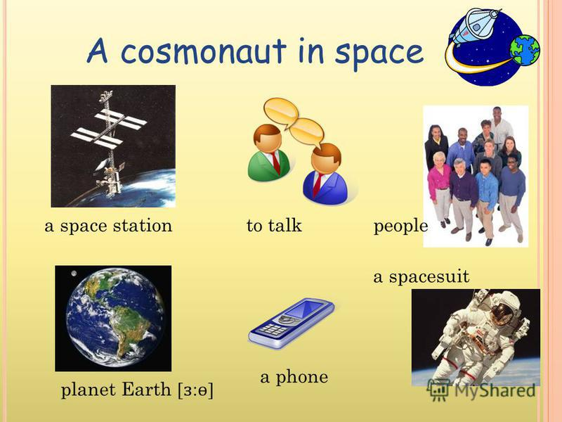 A cosmonaut in space a space station planet Earth [ ɜ : ɵ ] to talk a phone people a spacesuit