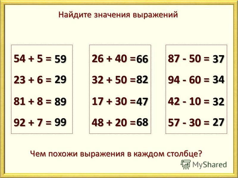 Найдите значения выражений 54 + 5 = 23 + 6 = 81 + 8 = 92 + 7 = 59 29 89 99 26 + 40 = 32 + 50 = 17 + 30 = 48 + 20 = 66 82 47 68 87 - 50 = 94 - 60 = 42 - 10 = 57 - 30 = 37 34 32 27 Чем похожи выражения в каждом столбце?
