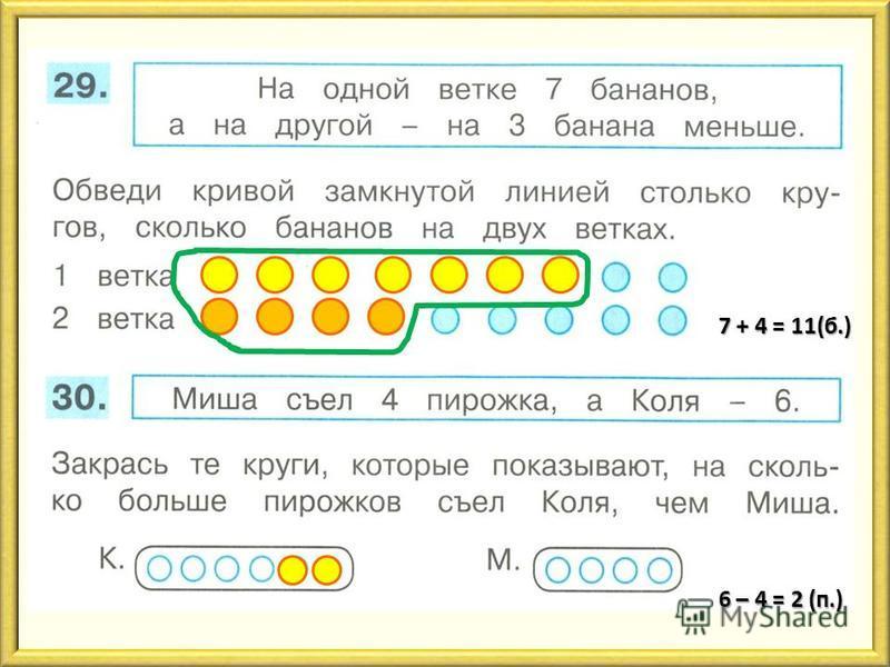 7 + 4 = 11(б.) 6 – 4 = 2 (п.)