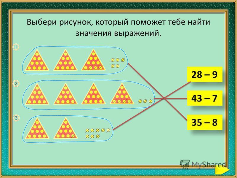 Выбери рисунок, который поможет тебе найти значения выражений. 28 – 9 43 – 7 35 – 8