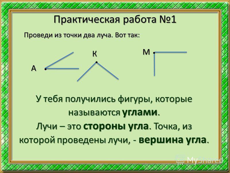 Практическая работа 1 Проведи из точки два луча. Вот так: А К М У тебя получились фигуры, которые называются углами. Лучи – это стороны угла. Точка, из которой проведены лучи, - вершина угла.