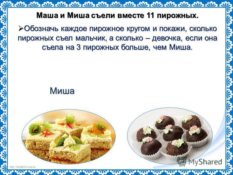http://linda6035.ucoz.ru/ Маша и Миша съели вместе 11 пирожных. Обозначь каждое пирожное кругом и покажи, сколько пирожных съел мальчик, а сколько – девочка, если она съела на 3 пирожных больше, чем Миша. Обозначь каждое пирожное кругом и покажи, ско