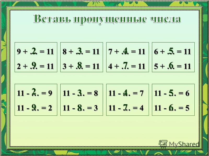 9 + … = 11 2 + … = 11 8 + … = 11 3 + … = 11 7 + … = 11 4 + … = 11 6 + … = 11 5 + … = 11 11 - … = 9 11 - … = 2 11 - … = 8 11 - … = 3 11 - … = 7 11 - … = 4 11 - … = 6 11 - … = 5 2 9 2 9 3 8 3 8 4 7 4 7 5 6 5 6
