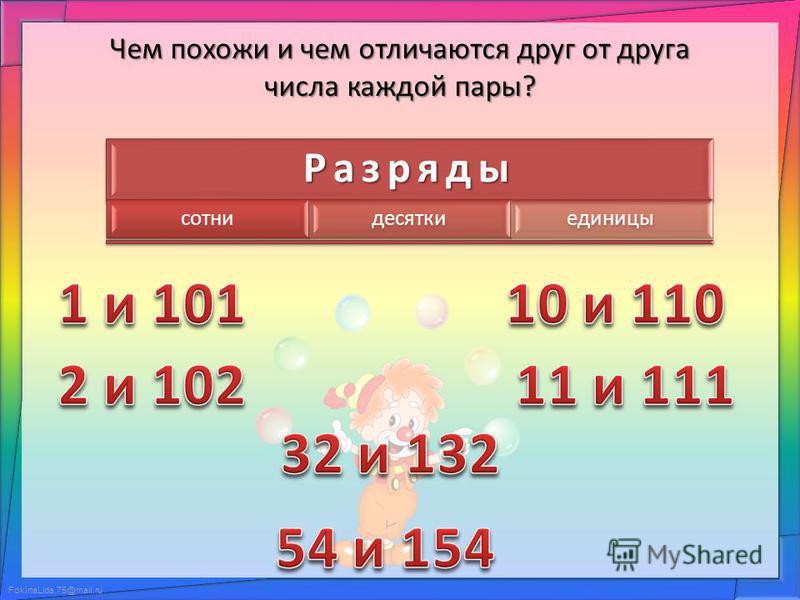 Разряды сотни десятки единицы Чем похожи и чем отличаются друг от друга числа каждой пары?