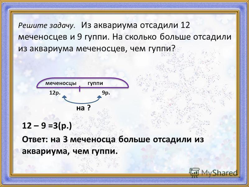 Решите задачу. Из аквариума отсадили 12 меченосцев и 9 гуппи. На сколько больше отсадили из аквариума меченосцев, чем гуппи? меченосцы гуппи 12 р. 9 р. на ? 12 – 9 =3(р.) Ответ: на 3 меченосца больше отсадили из аквариума, чем гуппи.