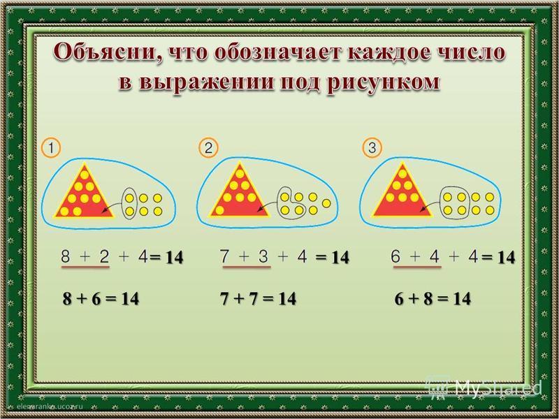 = 14 8 + 6 = 14 7 + 7 = 14 6 + 8 = 14