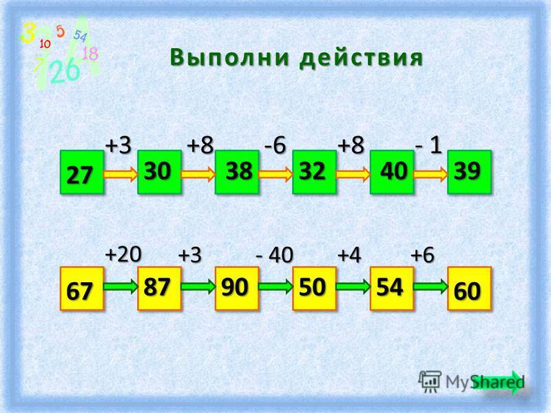 Выполни действия 27 39 +3+8 -6-6-6-6+8 - 1 30383240 6760 +20 +3 - 40 +4+6 87905054