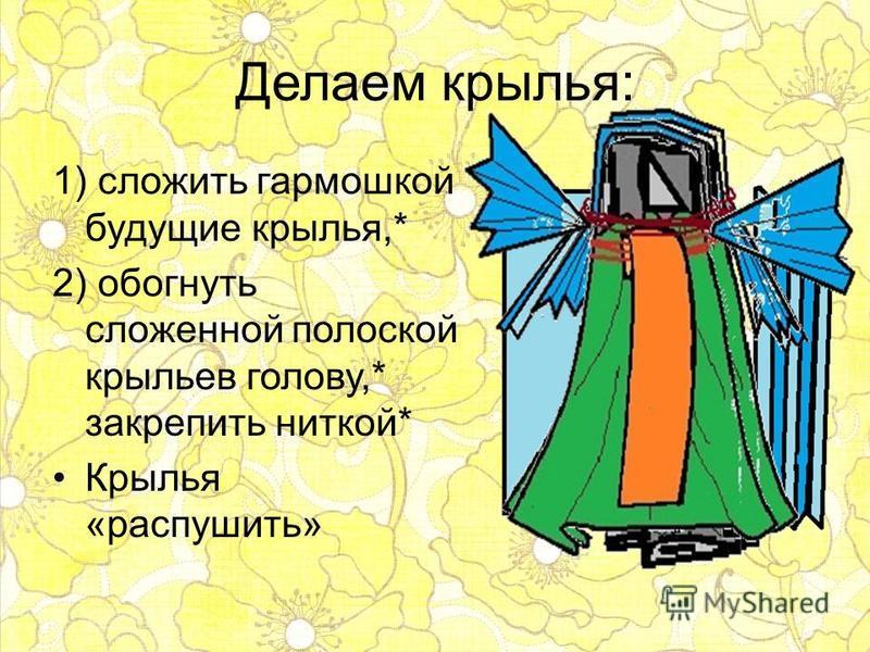 Делаем крылья: 1) сложить гармошкой будущие крылья,* 2) обогнуть сложенной полоской крыльев голову,* закрепить ниткой* Крылья «распушить»