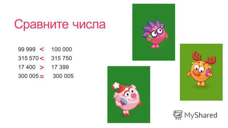 Сравните числа 99 999 100 000 315 570 315 750 17 400 17 399 300 005 300 005 < < > =