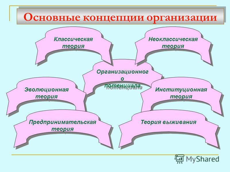 Основные концепции организации Организационног о потенциала Организационног о потенциала Эволюционная теория Институционная теория Теория выживания Предпринимательская теория Неоклассическая теория Классическая теория