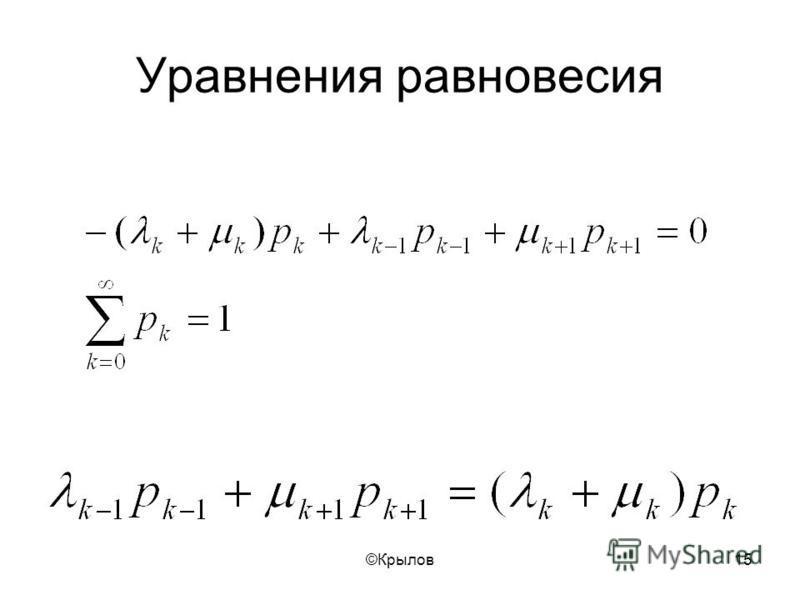 ©Крылов 15 Уравнения равновесия