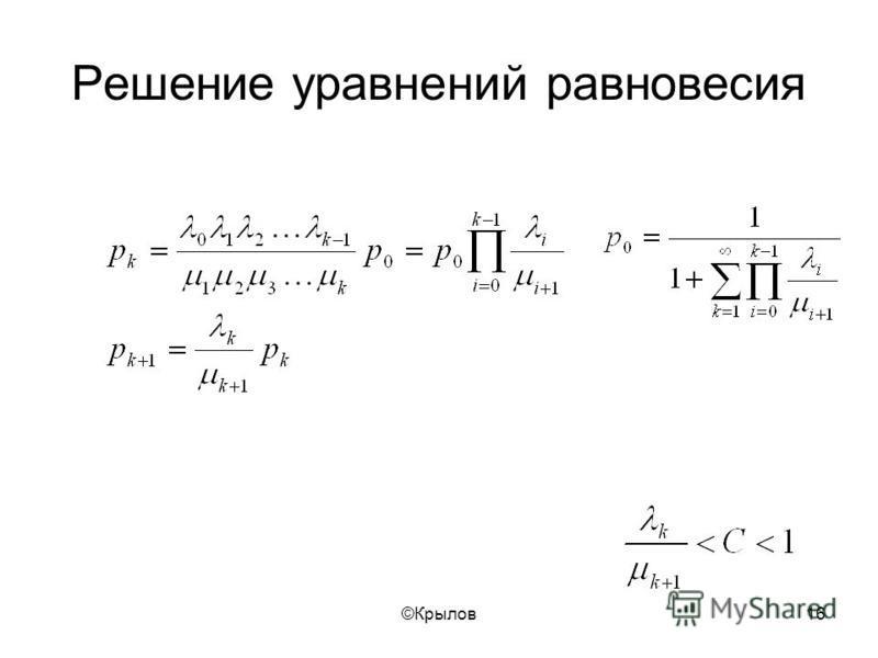 ©Крылов 16 Решение уравнений равновесия