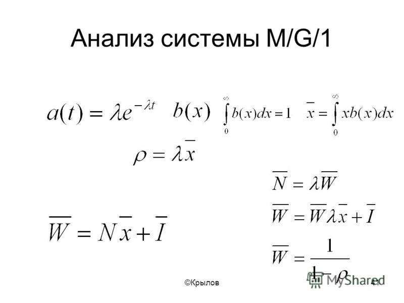 ©Крылов 41 Анализ системы M/G/1