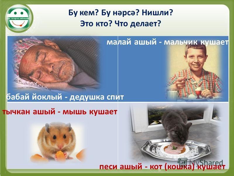 Бу кем? Бу нәрсә? Нишли? Это кто? Что делает? бабай йоклый - дедушка спит малой алый - мальчик кушает тычкан алый - мышь кушает песи алый - кот (кошка) кушает
