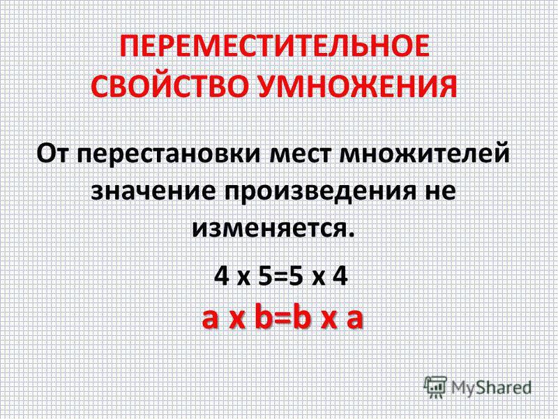 ПЕРЕМЕСТИТЕЛЬНОЕ СВОЙСТВО СЛОЖЕНИЯ От перестановки мест слагаемых значение суммы не изменяется. 4+5=5+4 a+b=b+a a+b=b+a