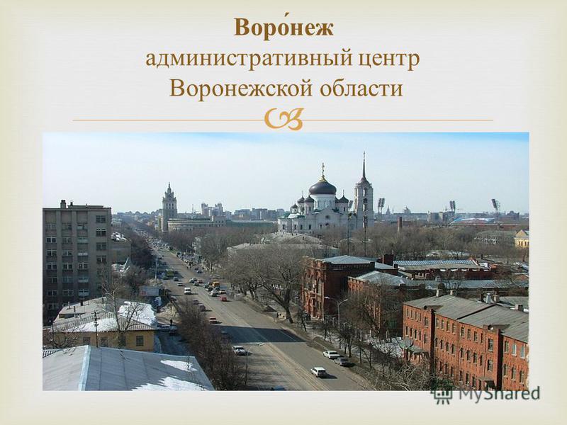 Воронеж административный центр Воронежской области