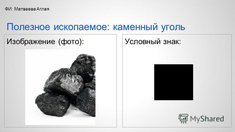 Условный знак: Полезное ископаемое: каменный уголь ФИ: Матвеева Аглая Изображение (фото):