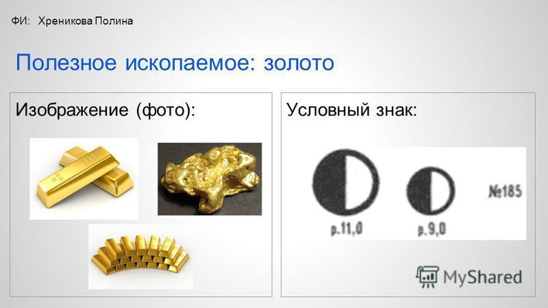 Изображение (фото): Условный знак: Полезное ископаемое: золото ФИ:Хреникова Полина