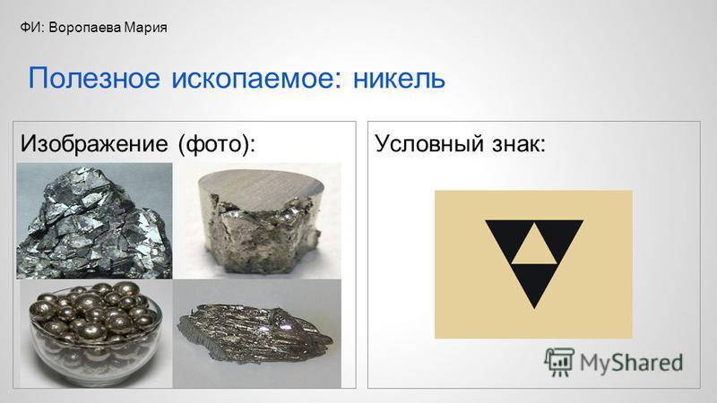 Изображение (фото): Условный знак: Полезное ископаемое: никель ФИ: Воропаева Мария