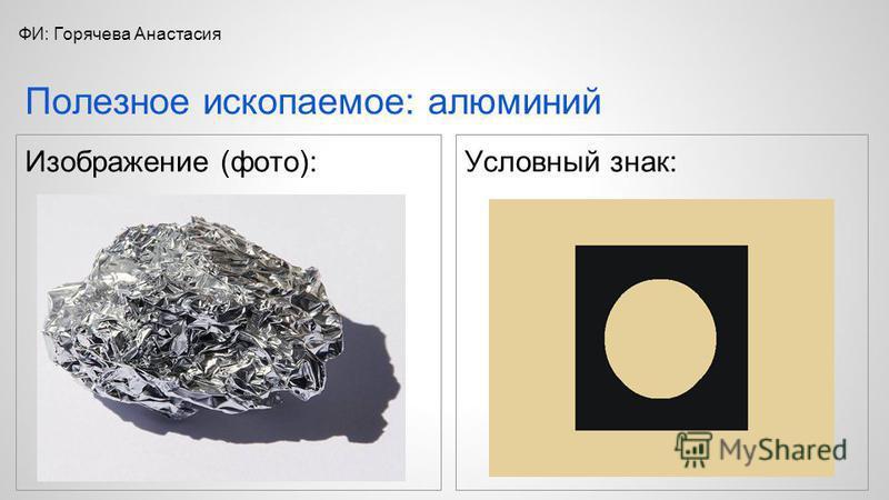 Изображение (фото):Условный знак: Полезное ископаемое: алюминий ФИ: Горячева Анастасия