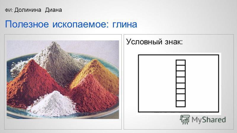 Условный знак: Полезное ископаемое: глина ФИ: Долинина Диана