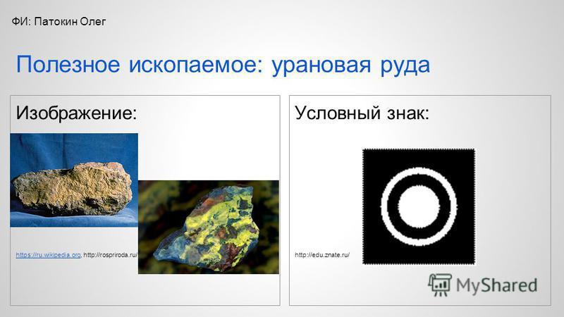 Изображение: https://ru.wikipedia.orghttps://ru.wikipedia.org, http://rospriroda.ru/ Условный знак: http://edu.znate.ru/ Полезное ископаемое: урановая руда ФИ: Патокин Олег